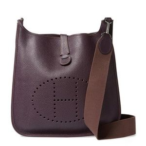 Hermès Evelyne 870899 Purple Leather Messenger Bag
